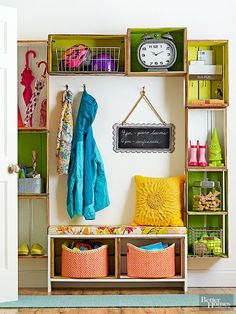 Give yourself a bright and vibrant front entry, mudroom, or garage storage system using about a dozen beautiful vintage wood crates. A combination of a homemade wood crate bench, shelving, and other storage solutions bring the entryway solution together.