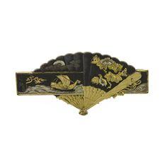 Japanese shakudo fan brooch, c. 1870.