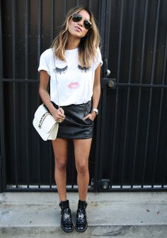 SINCERELYJULES 'lips & lashes' tee ANINE BING leather mini VALENTINO lock flap bag BALENCIAGA cut out boots