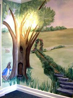 1000 images about trompe l 39 oeil and other murals on for Beatrix potter wall mural
