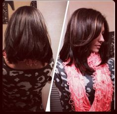 Long angled bob for thick hair, brunette with caramel highlights