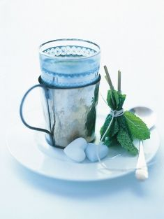 Tie small bunch spearmint or mint together w/ kitchen string, place in a heatproof glass, pour over boiling water & leave to infuse 5mins. Serve w/ sugar cubes or honey.