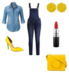 """""""Denim with a dash of yellow"""" by justina-woods ❤ liked on Polyvore featuring Cheap Monday, LE3NO, INC International Concepts, Lemaire and MAC Cosmetics"""