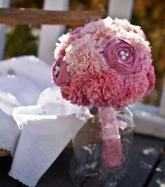 Pink Fabric Flower Bouquet, Weddings, Ombre Bouquet, Fabric Bridal Bouquet. $175.00, via Etsy.