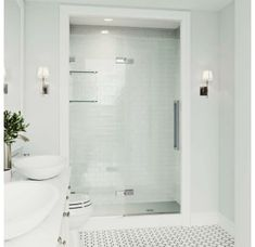 """View the Vigo VG6082CL4874 Powell 74"""" High x 48"""" Wide Hinged Frameless Shower Door with Clear Glass at Build.com. Vigo Shower Doors, Bathroom Shower Doors, Frameless Sliding Shower Doors, Small Bathroom With Shower, Glass Shower Doors, Master Bathroom, Basement Bathroom, Bathroom Interior, Vertical Doors"""