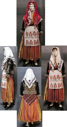 Traditional bridal costume (with the red head scarf) and festive dress from the district of Mengen (province of Bolu).  Rural, 2nd half 20th century. (Kavak Costume Collection - Antwerpen/Belgium).