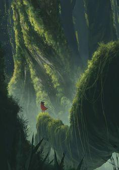 Big Trees, Old Growth, Fantasy Fantasy Forest, High Fantasy, Fantasy World, Fantasy Art Landscapes, Fantasy Landscape, Landscape Art, Fantasy Concept Art, Fantasy Artwork, Fantasy Places