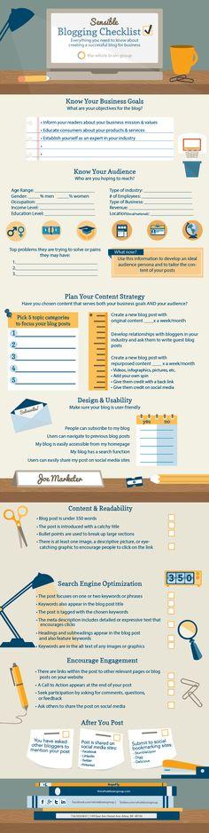 Sensible Blogging Checklist for Businesses - #infographic #Blogging #contentmarketing