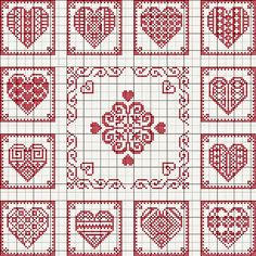De Borduurvrouw: Borduurpatronen Harten en Valentijnsdag click image to open, click image again and finally click the title and a large chart will open Cross Stitch Heart, Cross Stitch Samplers, Cross Stitching, Embroidery Hearts, Cross Stitch Embroidery, Embroidery Patterns, Crochet Patterns, Crochet Stitches, Cross Stitch Designs
