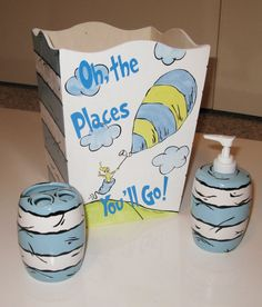 Dr Seuss Baby Blue Oh The Places You Ll Go Bathroom Accessories Set By