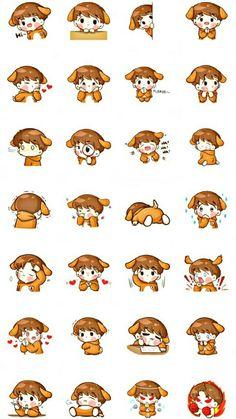 Exo Stickers, Anime Stickers, Cute Stickers, Baekhyun Fanart, Kpop Fanart, Cute Little Drawings, Cute Drawings, Little Girl Manga, Anime Chibi