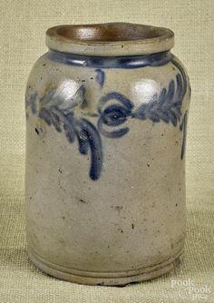 Mid-Atlantic stoneware crock, 19th c., with cobalt decoration, 8 1/4'' h. - Price Estimate: $60 - $90