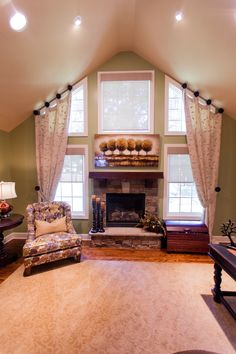 Window Treatments for Tall Windows Family Room Transitional with Angled Ceiling Kansas City