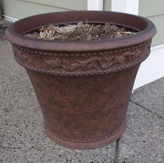 We bought a couple of large plastic planters a few years back at Costco. We bought them because they were a really good price for the . Large Outdoor Planters, Plastic Planters, Diy Planters, Garden Planters, Planter Ideas, Clay Flower Pots, Plastic Flower Pots, Clay Pots, Backyard Projects