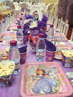 Table settings at a Sofia the First party!   See more party ideas at CatchMyParty.com!  #partyideas  #sofiathefirst