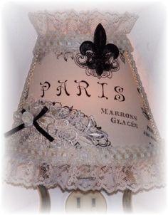 PARIS Fleur de Lis NIGHT LIGHT Black Lettering