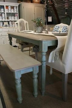Re loved Rubbish: Used Duck Egg Blue and Coco on dining table and bench Chalk Paint® decorative paint by Annie Sloan. by isabel