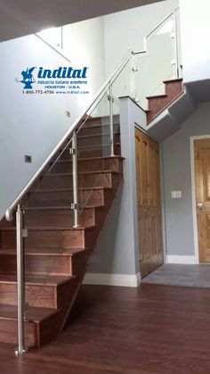 From Denver Glass Interiors, here you can see our stainless steel posts and railing paired with our square glass clamps and fine glass panels. Iron Staircase Railing, Wrought Iron Handrail, Iron Handrails, Staircase Design, Glass Balcony Railing, Glass Stairs, Glass Design, Door Design, Steel Railing Design