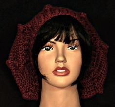 Crocheted slouch hat in autumn red by WearablesByAC  $28USD Free shipping