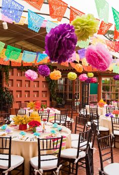 Mexican wedding reception colorful outdoor decoration