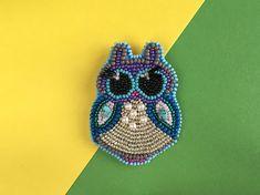 Owl beaded brooch Beaded Owl of seed beads Owl brooch Seed