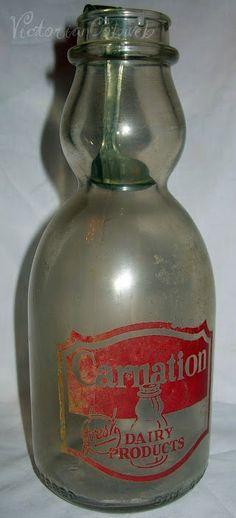 Vintage Milk Bottle Carnation Cream Top w/ Cream Top Spoon