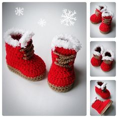 Christmas Baby Booties, Red color, Crochet Shoes, Baby Shoes, Newborn and Infant Booties, Boots for babies, Baby shower gift, all sizes
