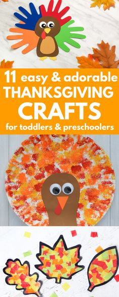 🍁11 Easy Thanksgiving Crafts for Toddlers & Preschoolers