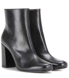 SAINT LAURENT Babies 90 Leather Ankle Boots. #saintlaurent #shoes #boots