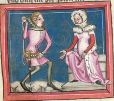 Rudolf / Jansen Enikel, Jans: World Chronicle in Verses - Mixed Manuscript from Christ-herre Chronicle c. Medieval Fashion, Medieval Dress, Medieval Clothing, Historical Women, Historical Clothing, Historical Photos, Medieval World, Medieval Art, Middle Ages Clothing