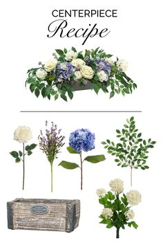 Beautiful centerpiece made with faux snowball, lavender berries, ruscus, hydrangea, and roses from afloral.com. #diywedding