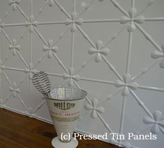 Image example of Pressed Tin Panels 'Clover' pattern in powder coat colour Bright White