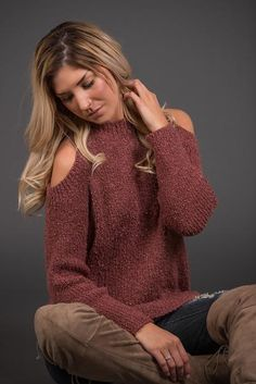 Coffeehouse Crush Cold Shoulder Fuzzy Sweater (Brick)