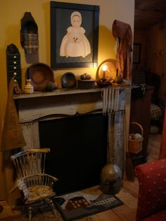 Prodigious Tips: Fireplace Living Room Narrow cheap fireplace makeover.Fireplace Bedroom Tubs tv over fireplace victorian. Primitive Mantels, Primitive Fireplace, Primitive Living Room, Primitive Homes, Primitive Furniture, Primitive Kitchen, Primitive Antiques, Fireplace Mantle, Country Primitive