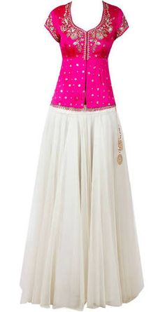 Would like to replace White net lehenga with some other color but loved the hot pink corset style blouse Choli Designs, Lehenga Designs, Blouse Designs, Red Lehenga, Lehenga Choli, Sari, Anarkali, Lehenga With Long Choli, Sharara