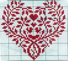 Cross Stitch Heart, Cross Stitch Cards, Cross Stitch Borders, Cross Stitch Alphabet, Counted Cross Stitch Patterns, Cross Stitch Designs, Cross Stitching, Embroidery Hearts, Christmas Embroidery Patterns