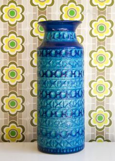 Vintage-Retro-1960s-70s-West-German-BAY-Keramik-607-40-Bitossi-Style-Floor-Vase