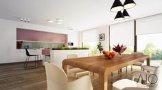 Dinning area and kitchen with flower pot
