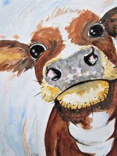 This Cute Cow painting by marjansart Farm Paintings, Animal Paintings, Animal Drawings, Cow Drawing, Watercolor Paintings, Original Paintings, Cow Pictures, Cow Painting, Farm Art