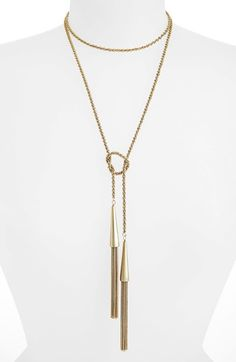 Kendra Scott 'Phara' Tassel Lariat Necklace available at #Nordstrom. Yellow gold.