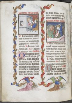 Miniatures of Saint Denis and his companions, and Saint George, with border decoration of angels carrying branches of acanthus by the Egerton Master, Egerton MS 1070, f. 90v