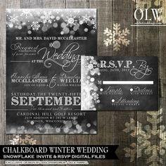 Printable Chalkboard Wedding -Winter Snowflakes wedding invitation and rsvp card - digital printable $35.00 Via ODD WEDDINGS www.oddlotweddings.com