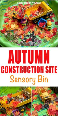 Construction Site Sensory bin perfect for toddlers and preschoolers. Have some fall sensory fun with this easy sensory activity. Autumn Eyfs Activities, Sensory Activities Toddlers, Infant Activities, Autumn Activities For Babies, Learning Activities, Teaching Ideas, Fall Sensory Bin, Sensory Bins, Sensory Play