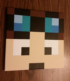 Wow! Look at that detail and those straight lines!!! Great for anyone into Minecraft!! 12x12 Canvas painting inspired by popular game / by ZuberCrafts