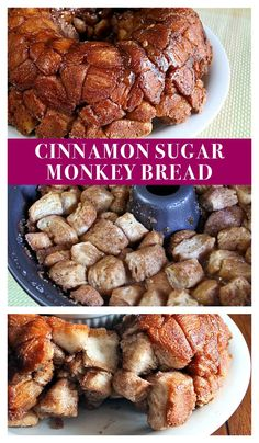 Cinnamon sugar monkey bread is easy to make and a great recipe for kids! Homemade Desserts, Fun Desserts, Delicious Desserts, Dessert Recipes, Fun Easy Recipes, Sweet Recipes, Easy Meals, Casserole Recipes, Bread Recipes