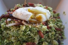Brussels Sprout hash with poached egg