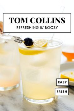 This Tom Collins recipe is the best! Tom Collins cocktails are made with gin, lemon, club soda and simple syrup. They're fizzy, refreshing, and even somewhat hydrating, so they're the perfect cocktail for warm days. #tomcollins #cocktail #summer #cookieandkate Party Drinks, Cocktail Drinks, Fun Drinks, Yummy Drinks, Cocktail Recipes, Drink Recipes, Cocktail Book, Cocktail Ideas, Alcoholic Beverages