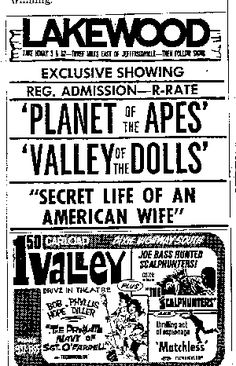 Lakewood Drive-In Theater Ad - Planet of the Apes & Valley of the Dolls