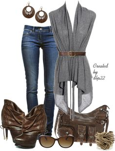 """""""Brown and Gray"""" by dlp22 on Polyvore"""