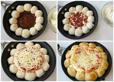 Line a skillet with cheese filled pizza dough balls and add a cheesy pizza dip in the center.